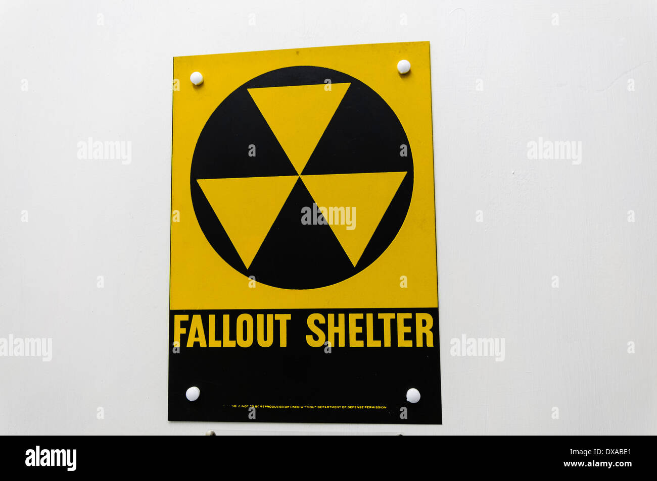 Warning sign at a nuclear fallout shelter Stock Photo