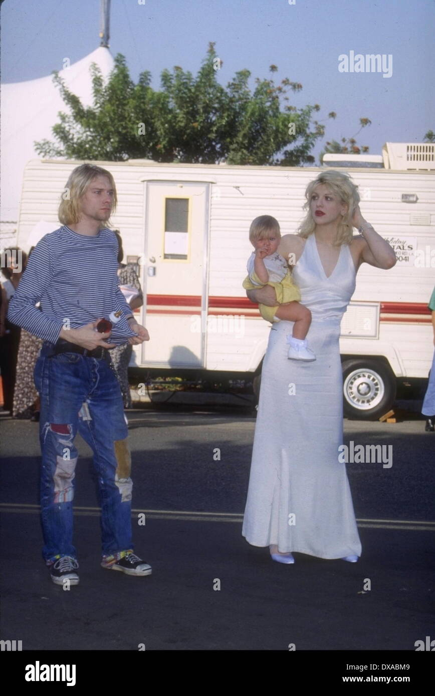 File. 20th Mar, 2014. KURT COBAIN (February 20, 1967 - c. April 5, 1994) was an American musician and artist best known as the lead singer, guitarist of the grunge band Nirvana. Cobain formed Nirvana with K. Novoselic in Aberdeen, Washington, in 1985 and established it as part of the Seattle music scene, having its debut album Bleach released on the independent record label Sub Pop in 1989. During the last years of his life, Cobain struggled with heroin addiction, illness and depression On April 8, 1994, Cobain was found dead at his home in Seattle, the victim of what was officially ruled a - Stock Image