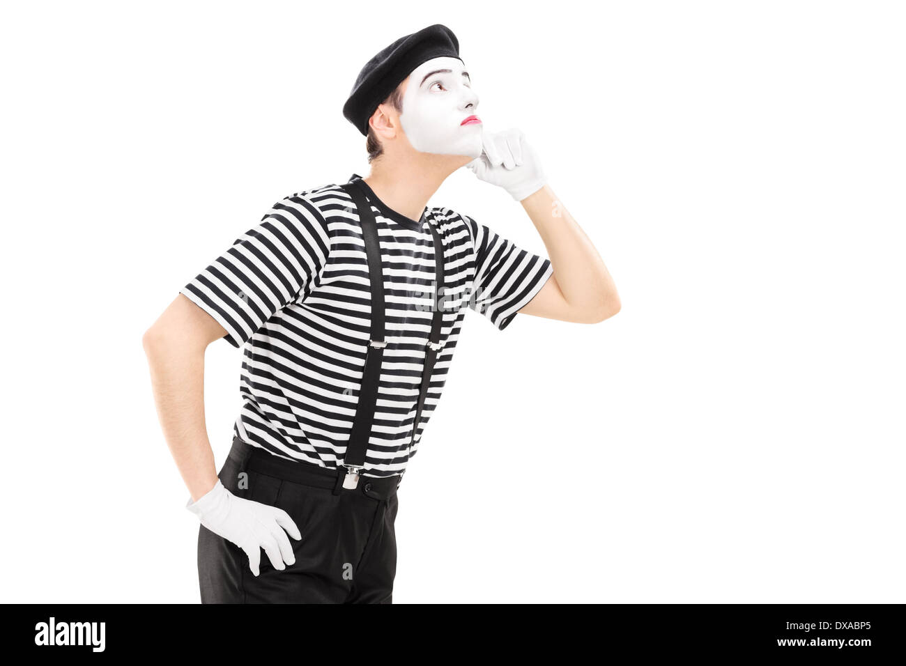 Mime artist listening something - Stock Image