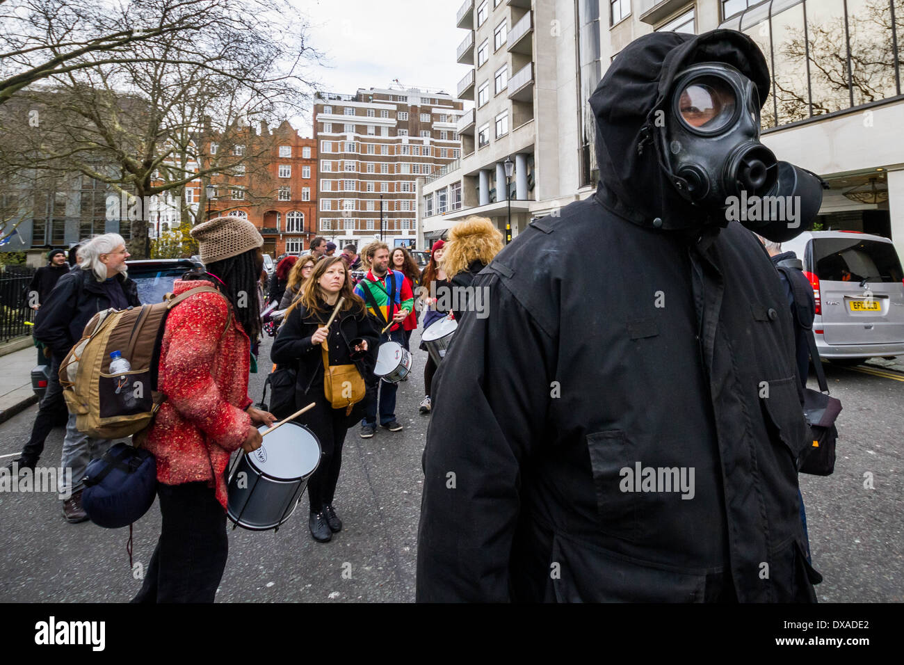 Anti-Fracking protesters march and rally in London, UK. - Stock Image