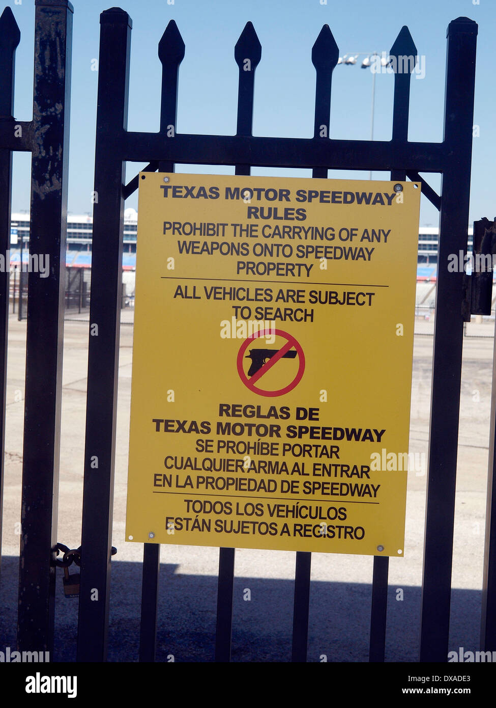 Ft Worth, TX - Even though the National Rifle Association is a sponsor, the Texas Motor Speedway prohibits weapons. - Stock Image