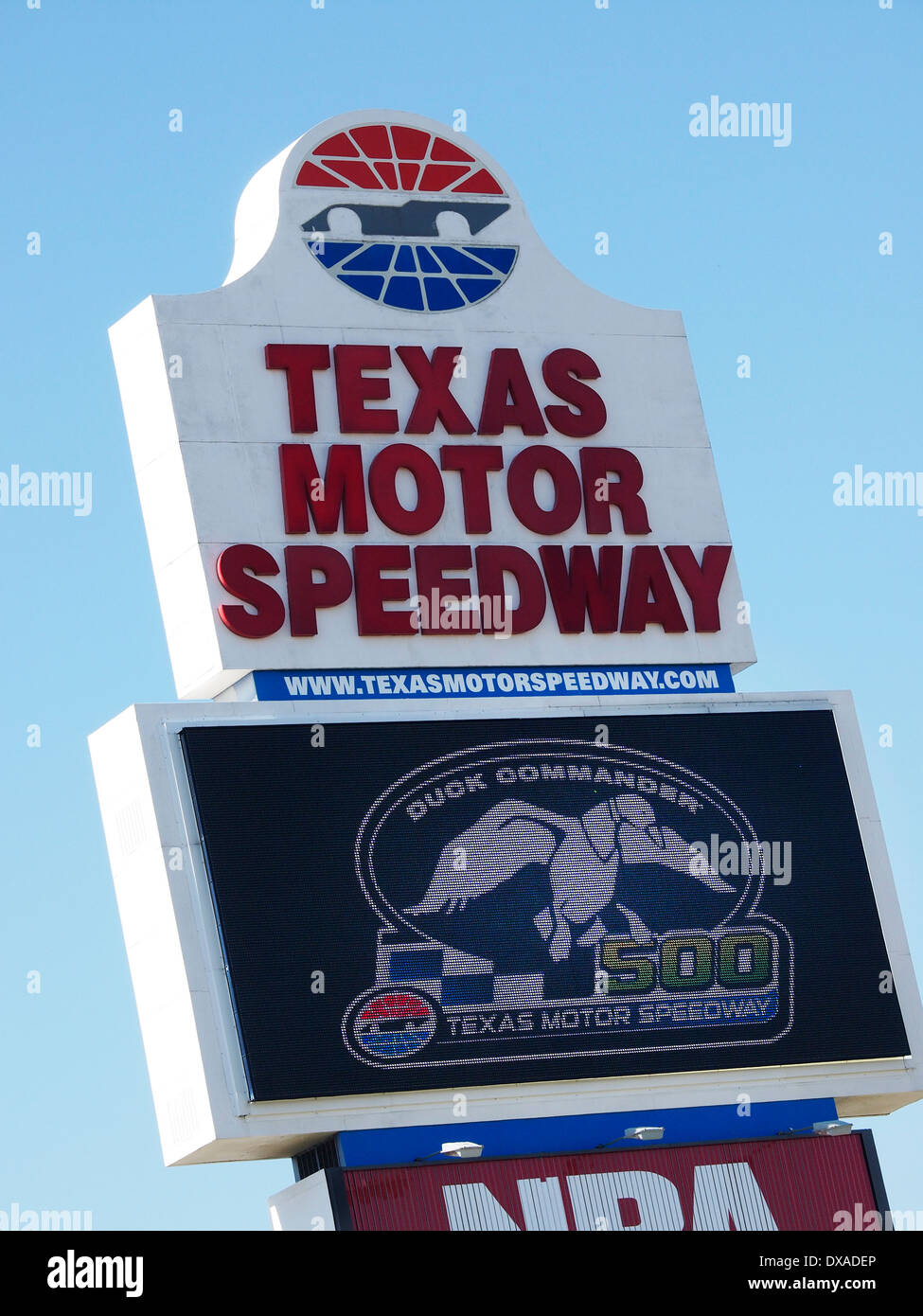 NASCAR comes to Texas Motor Speedway in the spring and fall. Duck Commander became the name for the 2014 Sprint Cup race. - Stock Image