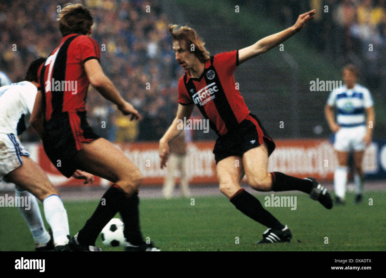 football, 1. Bundesliga, 2. Bundesliga, 1983/1984, relegation match to Bundesliga 1984/1985, first leg, Wedau Stadium, MSV Duisburg versus Eintracht Frankfurt 0:5, scene of the match, Juergen Mohr (Frankfurt) - Stock Image
