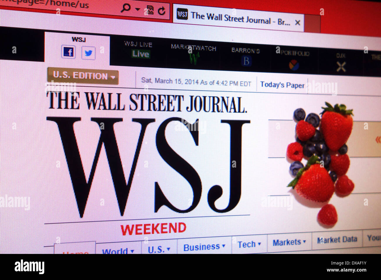 The Wall Street Journal website - Stock Image