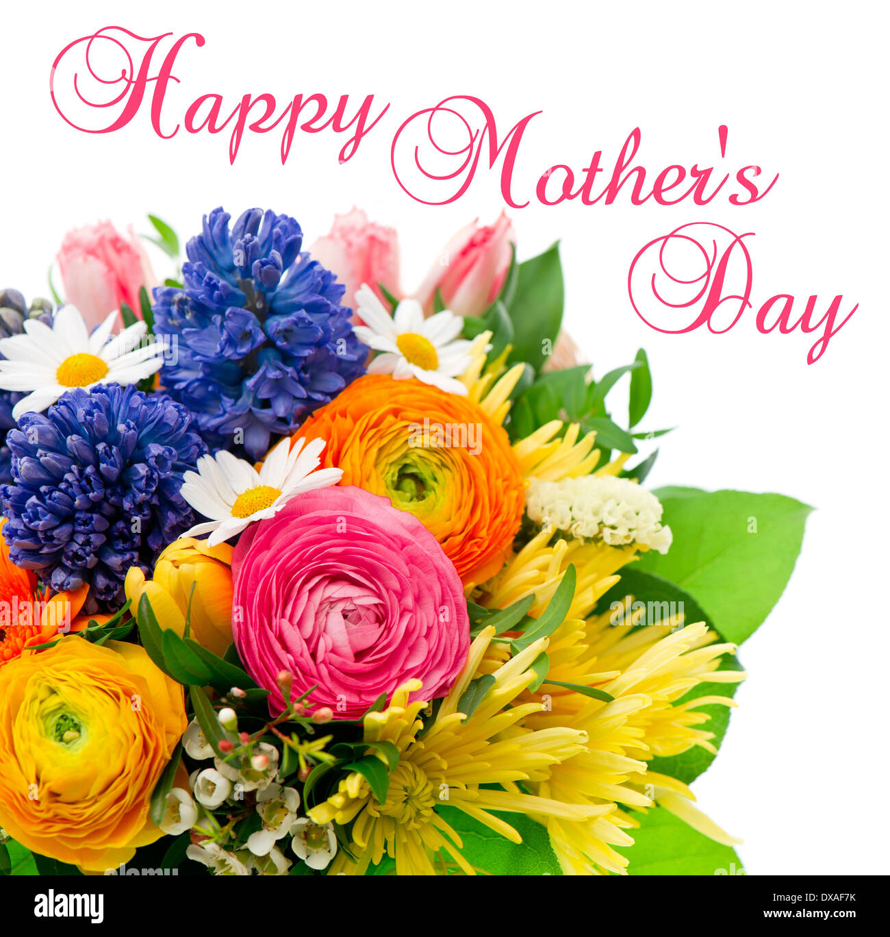 Happy Mothers Day Card Concept Beautiful Bouquet Of Colorful Spring Stock Photo Alamy