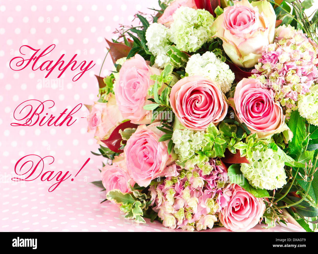 Happy Birthday Beautiful Flowers Bouquet Stock Photo 67844905 Alamy