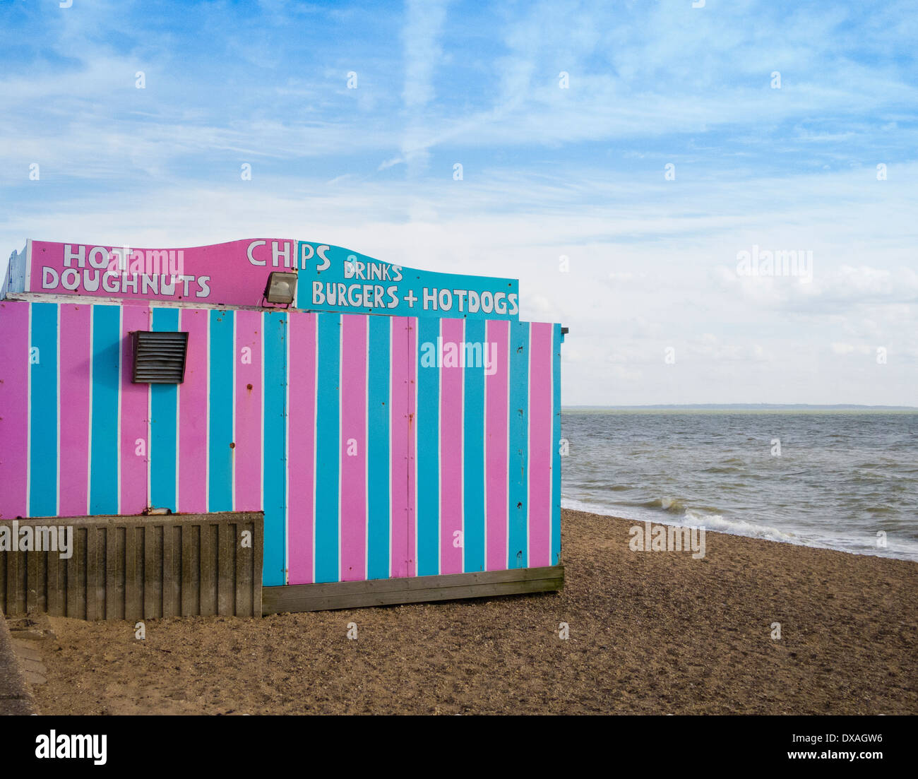 Food stall on a beach at Southend-On-Sea, Essex UK - Stock Image