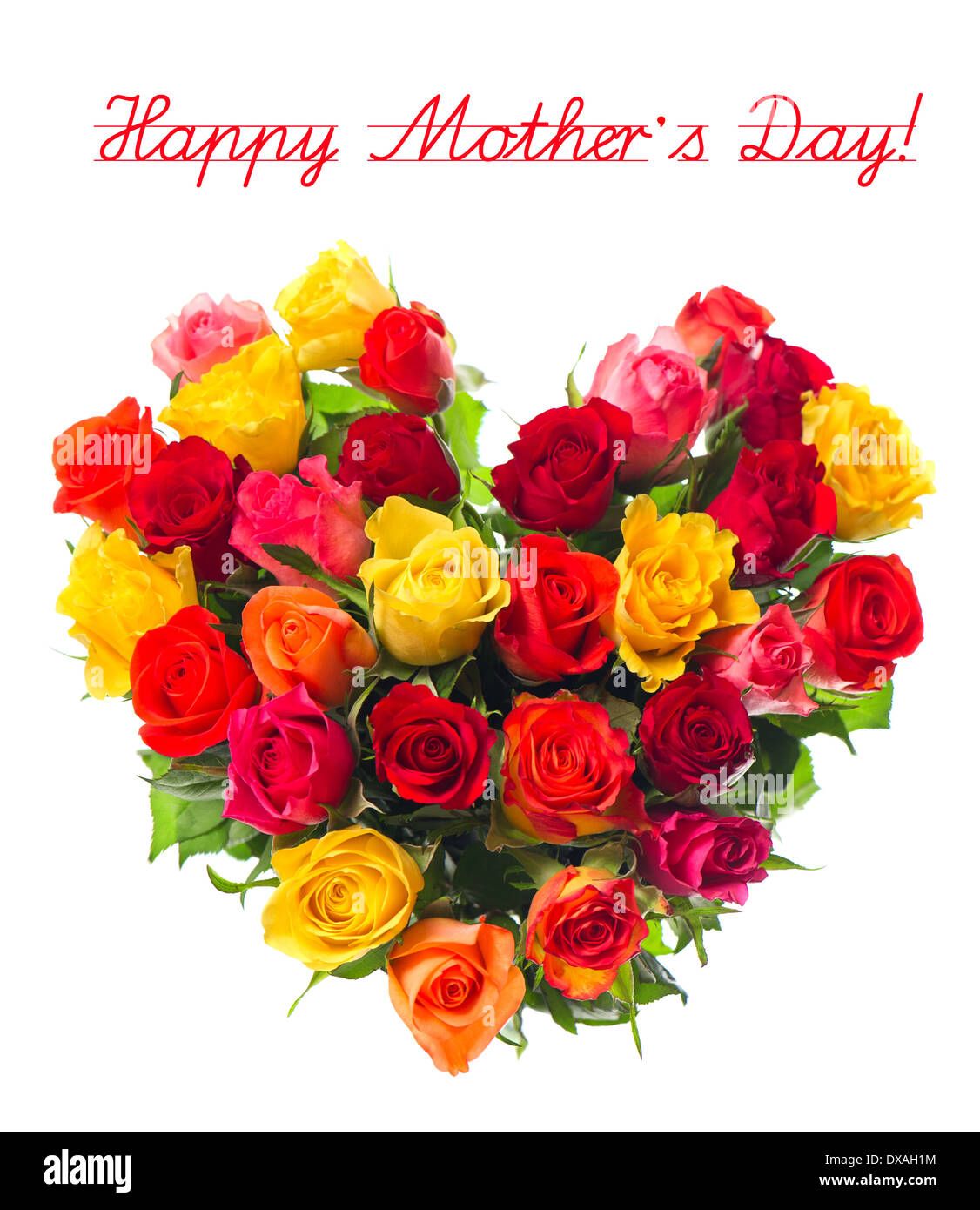 Happy Mothers Day Bouquet Of Colorful Assorted Roses In Heart
