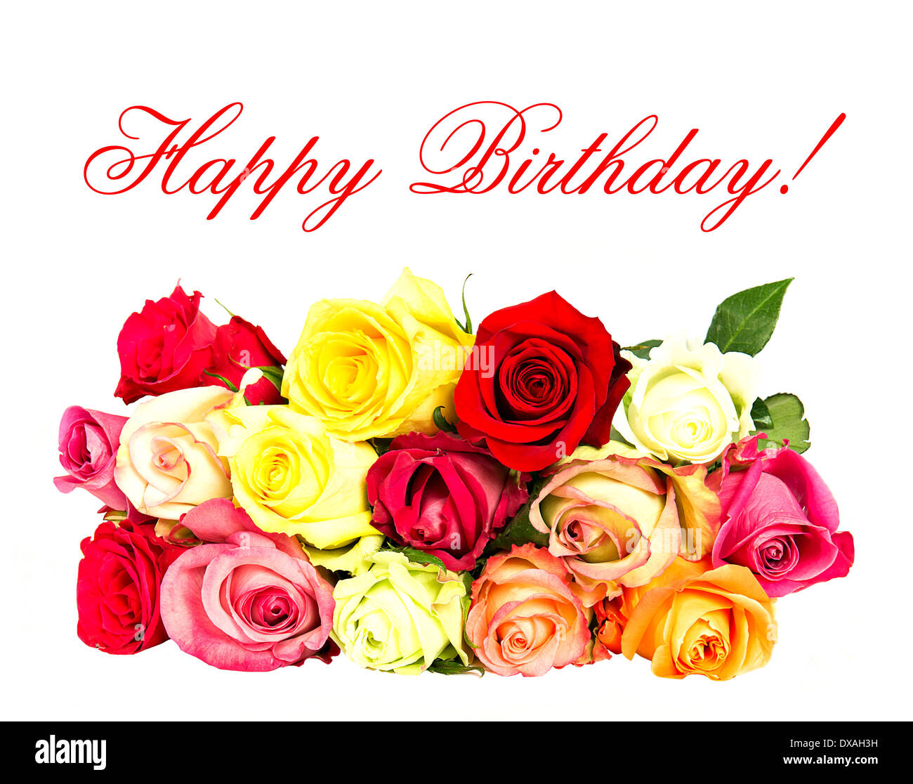 Colorful Roses Happy Birthday Card Concept Stock Photo 67845109