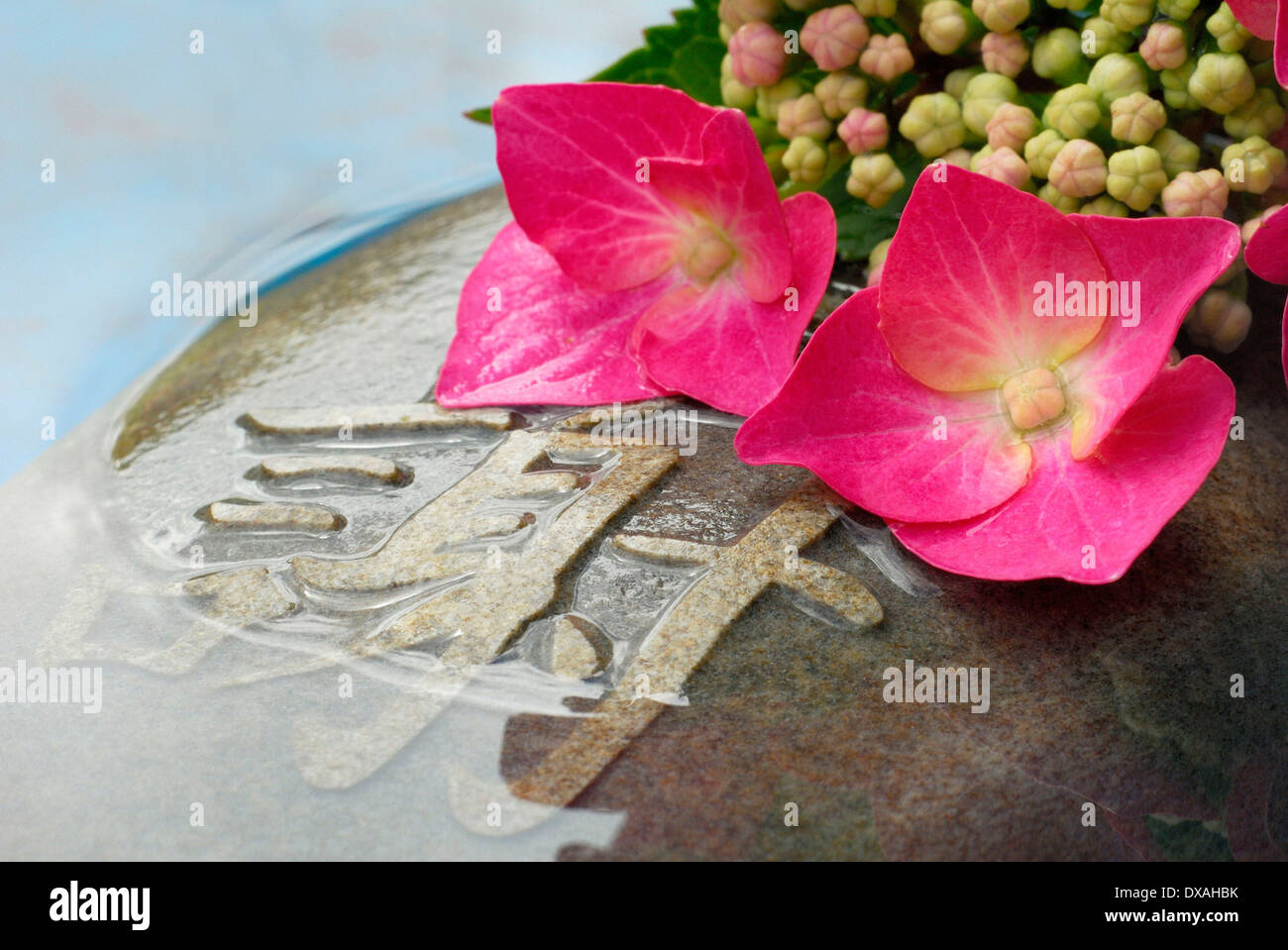 Stone with characters - Stock Image
