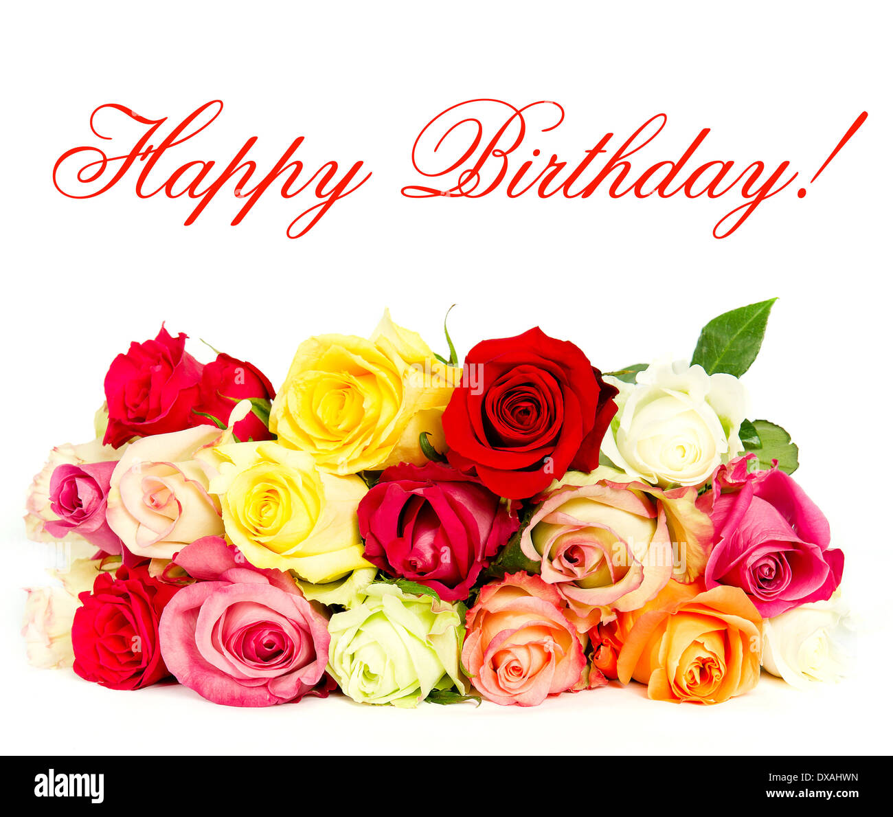 happy birthday! colorful roses, beautiful flower bouquet. card Stock ...