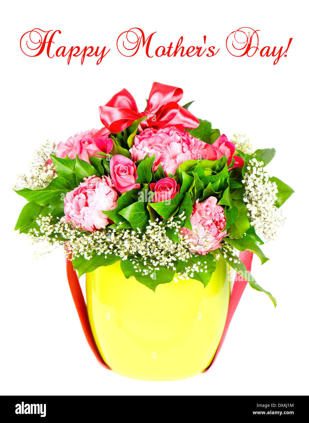 Happy Mother S Day Card Concept Colorful Roses Flower Bouquet With Stock Photo Alamy