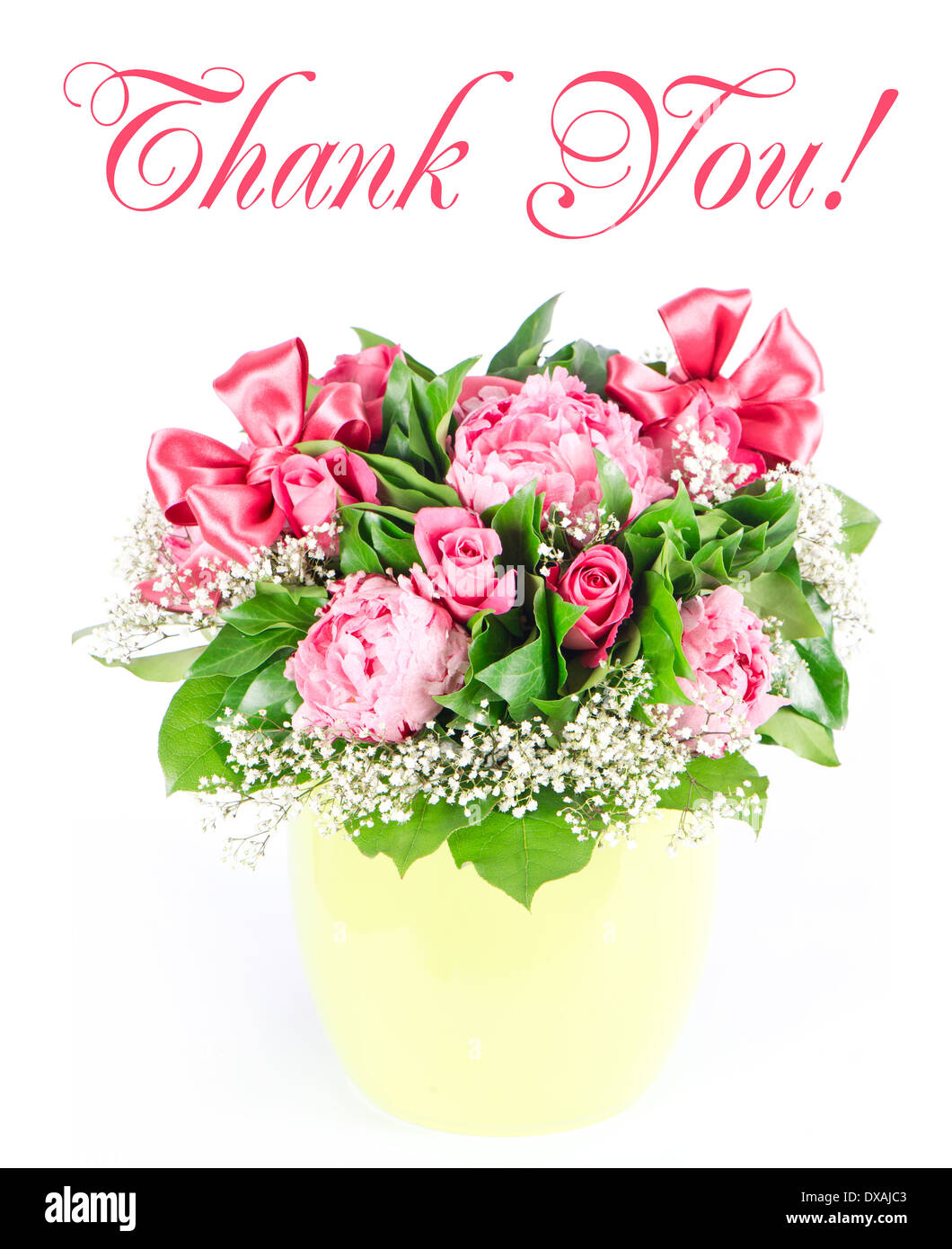 Thank you card concept colorful flowers bouquet with ribbon stock thank you card concept colorful flowers bouquet with ribbon izmirmasajfo