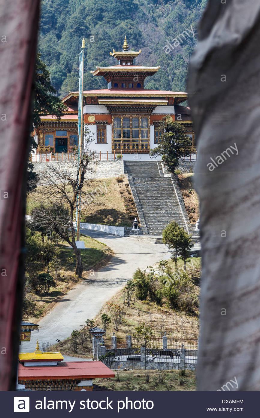 Buddhist Monastery at Dochu La Pass in Bhutan - Stock Image