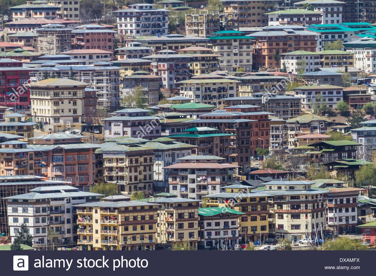 Crowded housing in Thimphu, Bhutan Stock Photo, Royalty ...