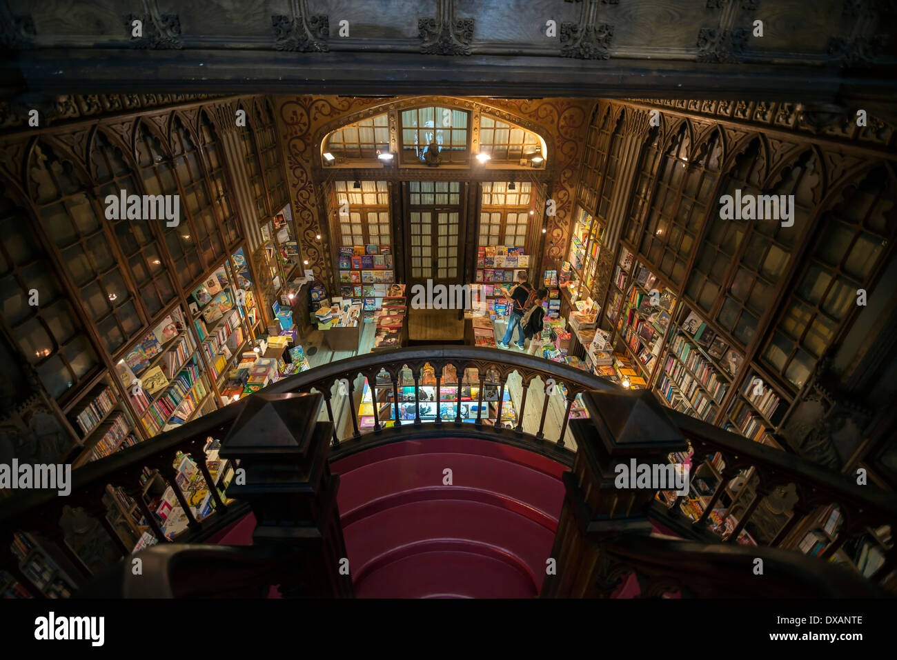 PORTO, PORTUGAL - MARCH 3, 2014: Interior of the famous bookstore in Porto Portugal called Livraria Lello Irmão - Stock Image