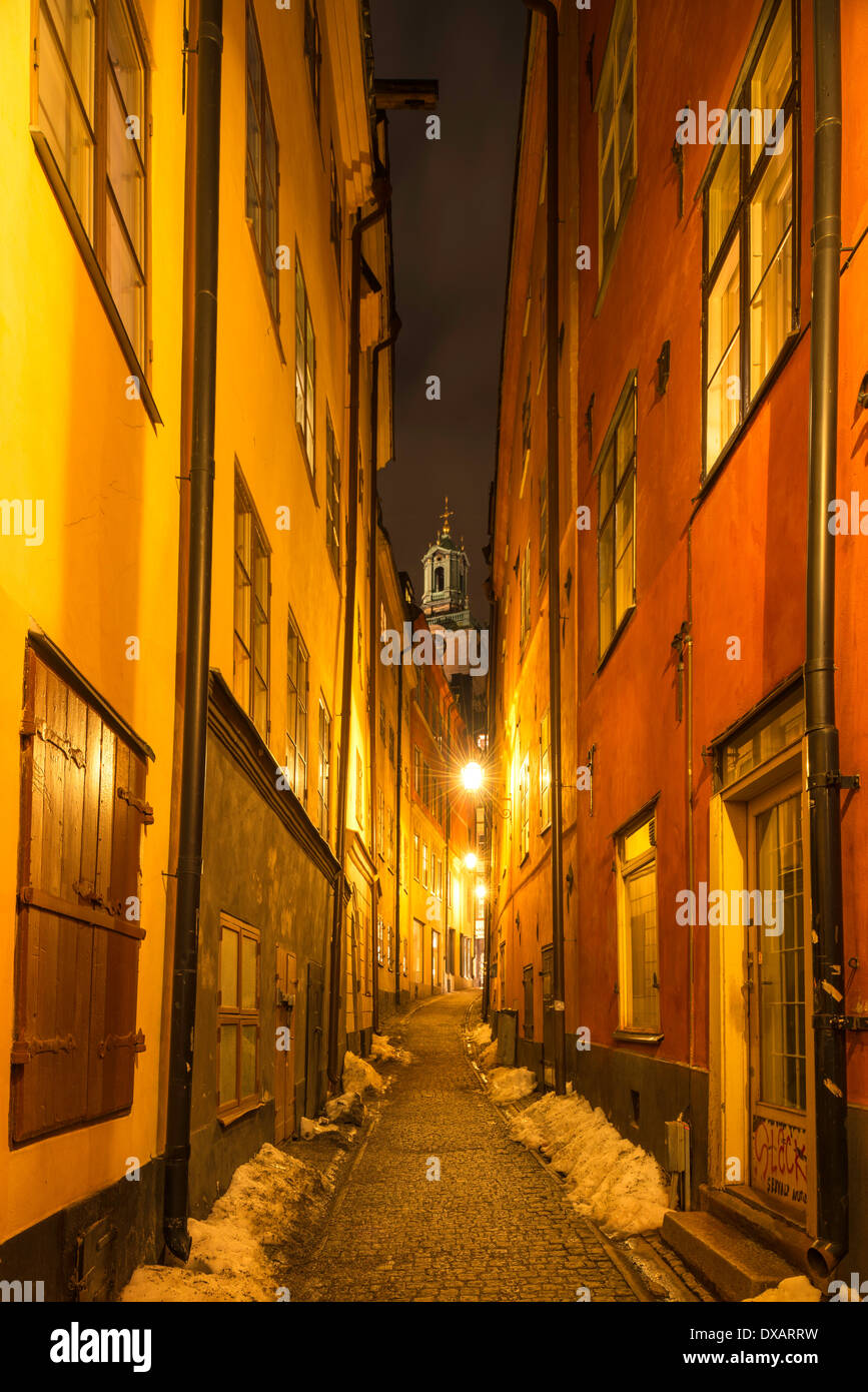 Night view of Stockholm Cathedral, seen from Göran Hälsinges Gränd, in Gamla Stan, the old town of Stockholm, Sweden. Stock Photo