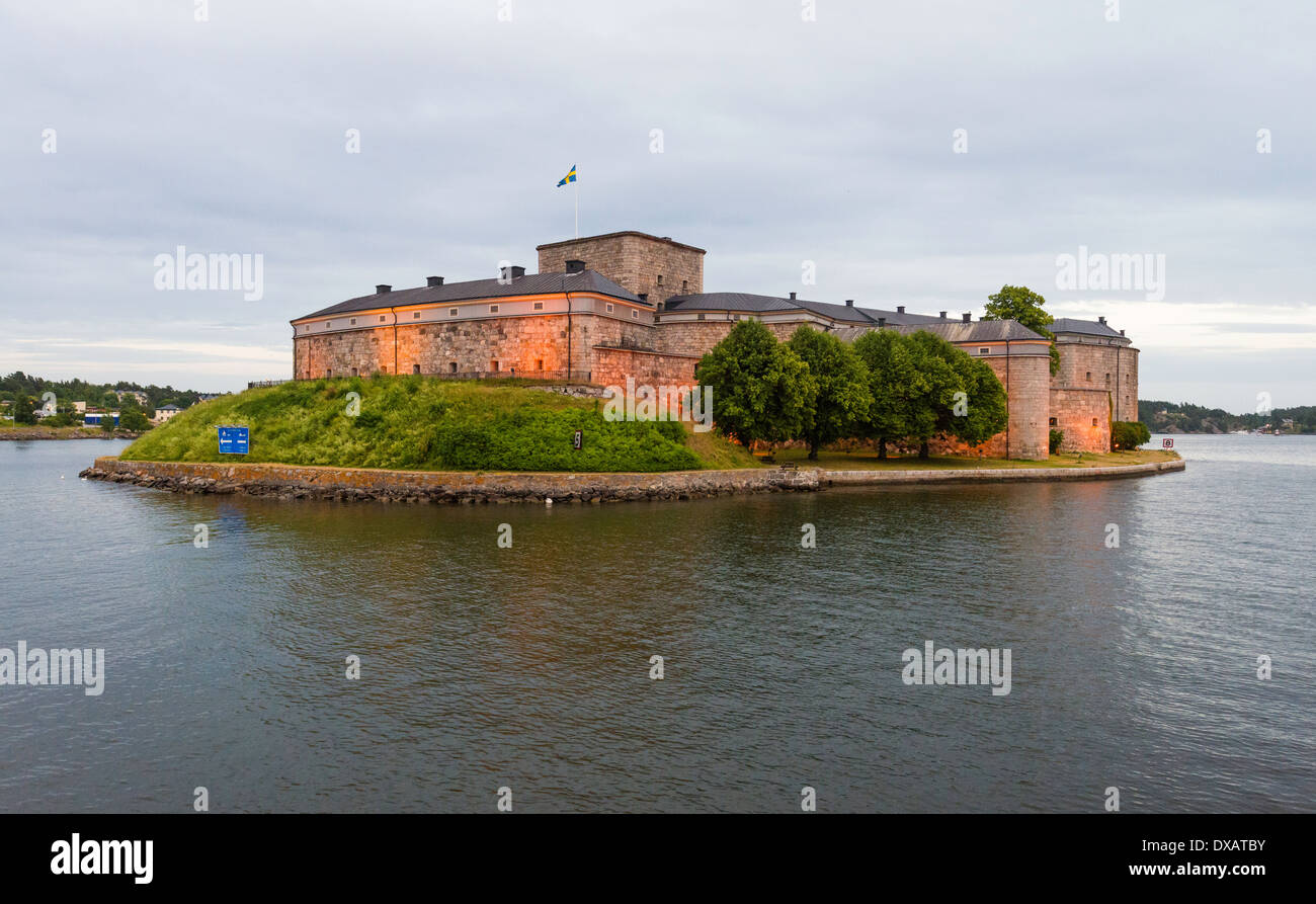 Early evening view of the historic fortification, Vaxholm Castle (1549), in the Stockholm Archipelago, Sweden. - Stock Image