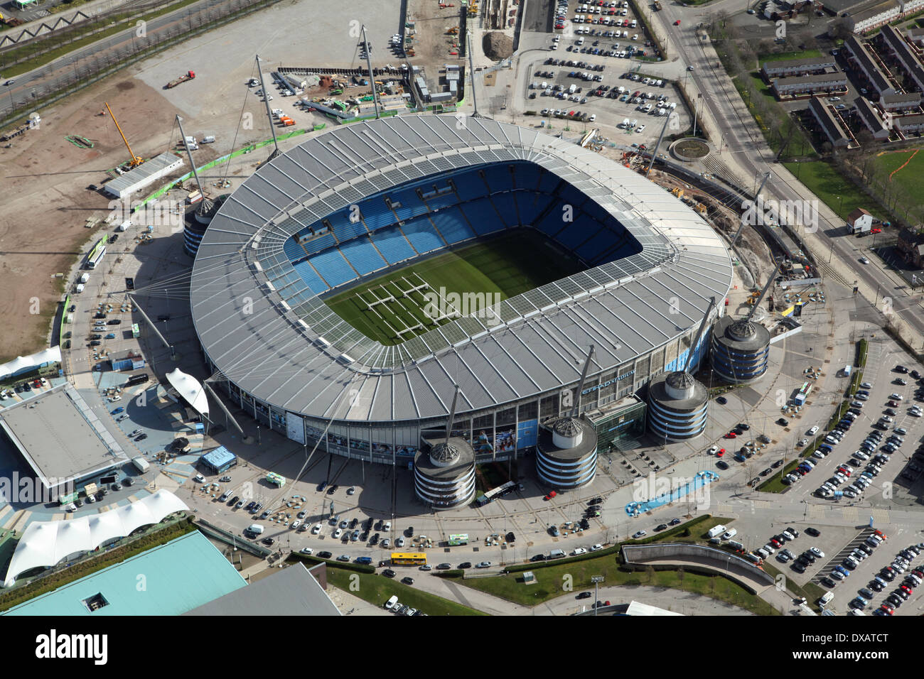 aerial view of the Etihad football stadium in Manchester. Home of Manchester City football club. - Stock Image