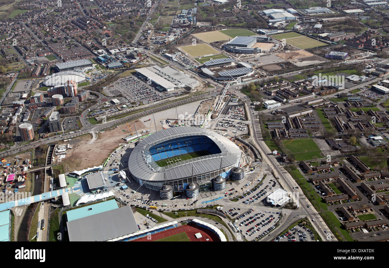 aerial view of the Etihad Stadium, home of Manchester City Football Club and showing the nearby sports development - Stock Image