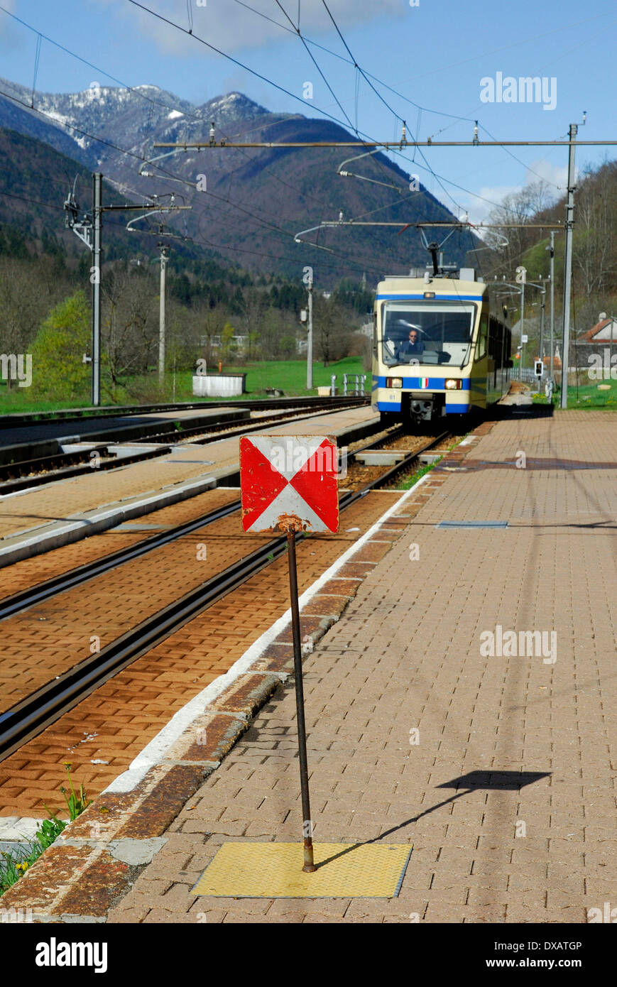 Stop signal, Centovalli Train, Re - Stock Image