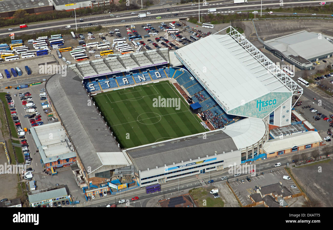aerial view of Leeds United Elland Road football Stadium in Leeds - Stock Image