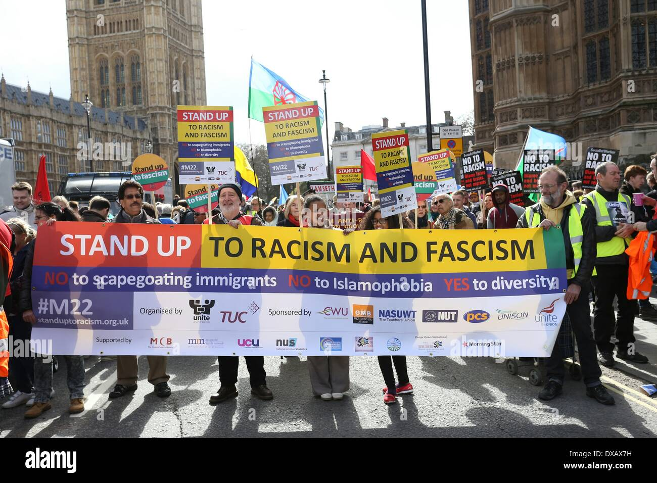 London, UK. 22nd March 2014. Thousands took part in a march and rally has taken place in central London on Saturday, March 22, 2014, to coincide with UN anti-racism day as part of European wide action to stand up against racism and fascism. The procession assembled outside Parliament before marching the Trafalgar Square for a rally. The march was organised by the TUC (Trades Union Congress) and UAF (Unite Against Fascism). Credit:  Christopher Middleton/Alamy Live News - Stock Image