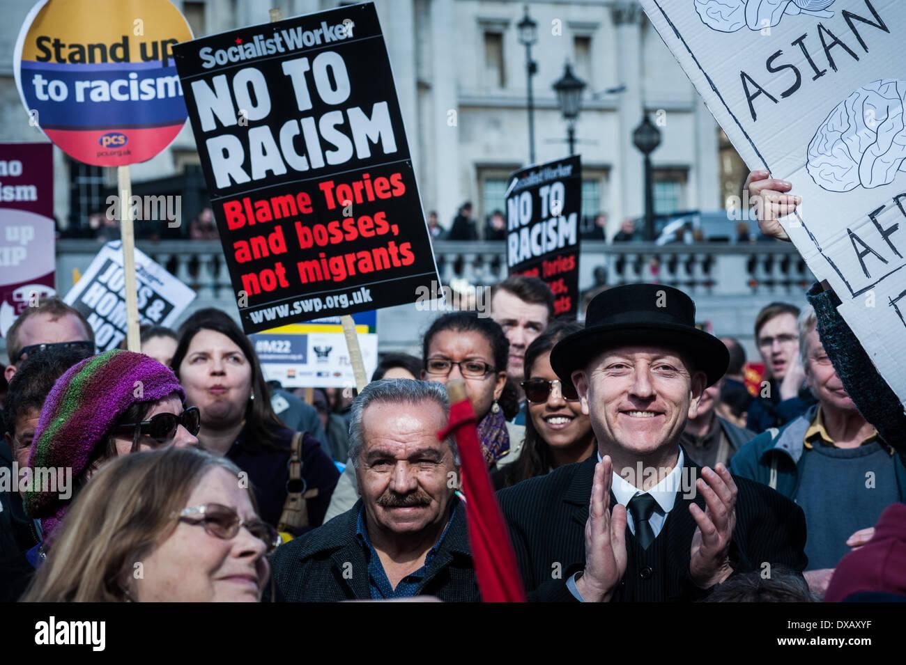 London, UK - 22 March 2014: marchers gather in London to celebrate the United Nations International Anti-Racism Day. Credit:  Piero Cruciatti/Alamy Live News - Stock Image
