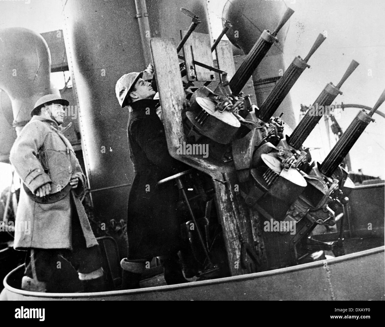 Royal Navy world war two. RN anti aircraft gunners in action - Stock Image