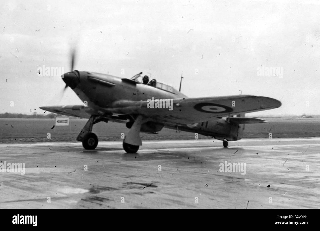 Royal Navy world war two. A sea hurricane taxiing for take off - Stock Image