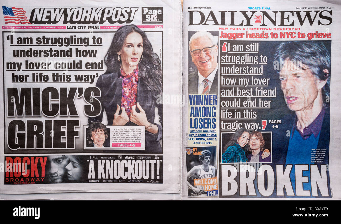 Headlines of NY tabloids feature the same quote from Mick Jagger on the suicide of fashion designer L'Wren Scott - Stock Image