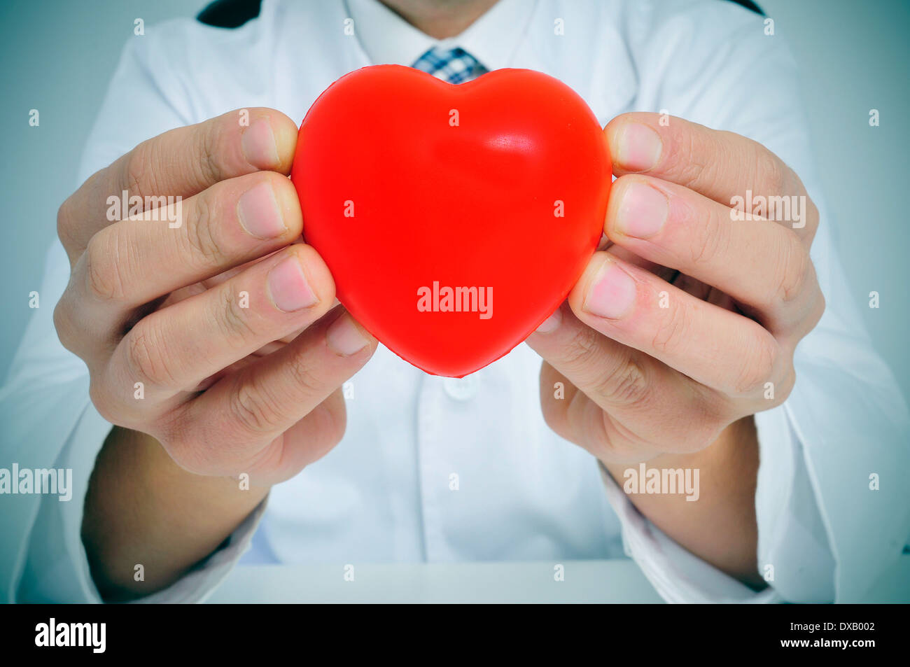 a man wearing a white coat sitting in a desk showing a red heart - Stock Image