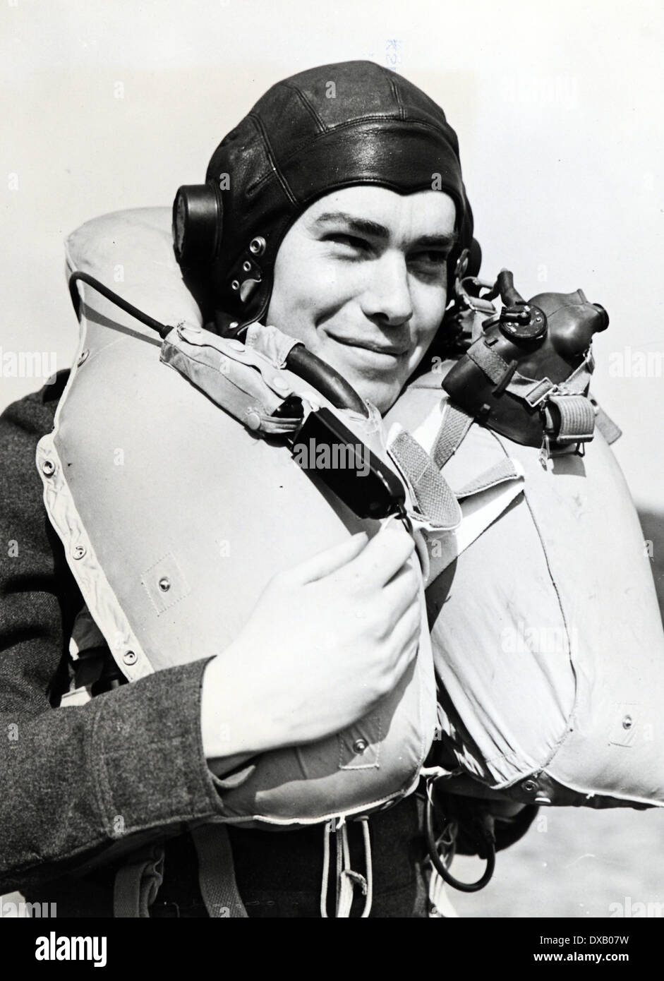 WW11 RAF Pilot in full flying clothing with Mae West lifejacket - Stock Image