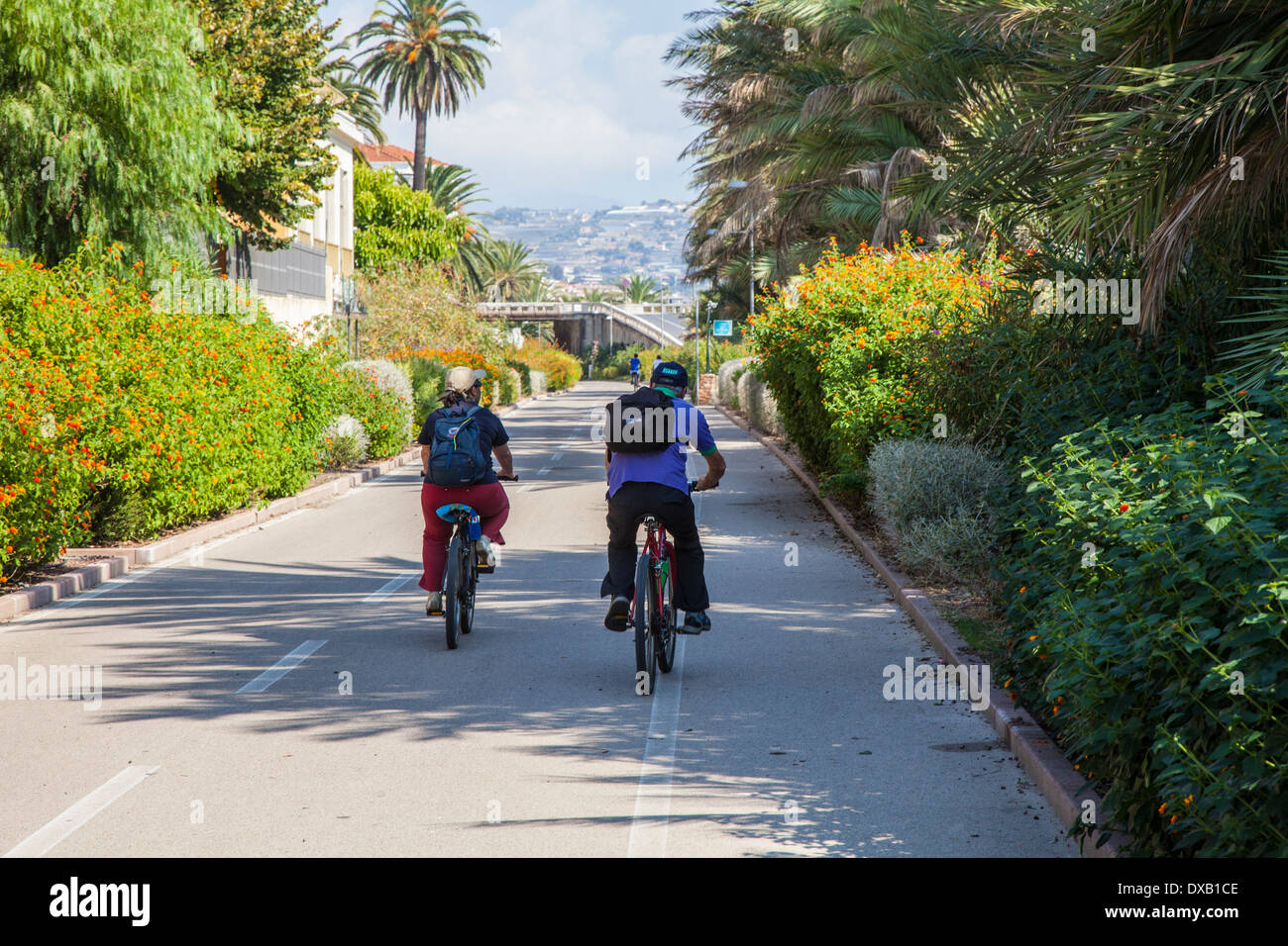 San Remo to Imperia cycle path, Liguria, Italy - Stock Image