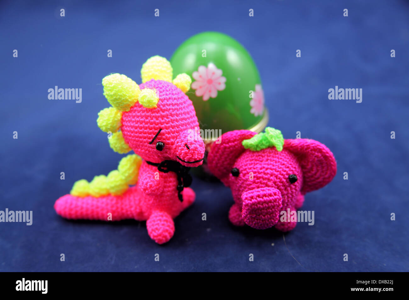TINY KNITTED ANIMALS,TWO INCHES HIGH - Stock Image
