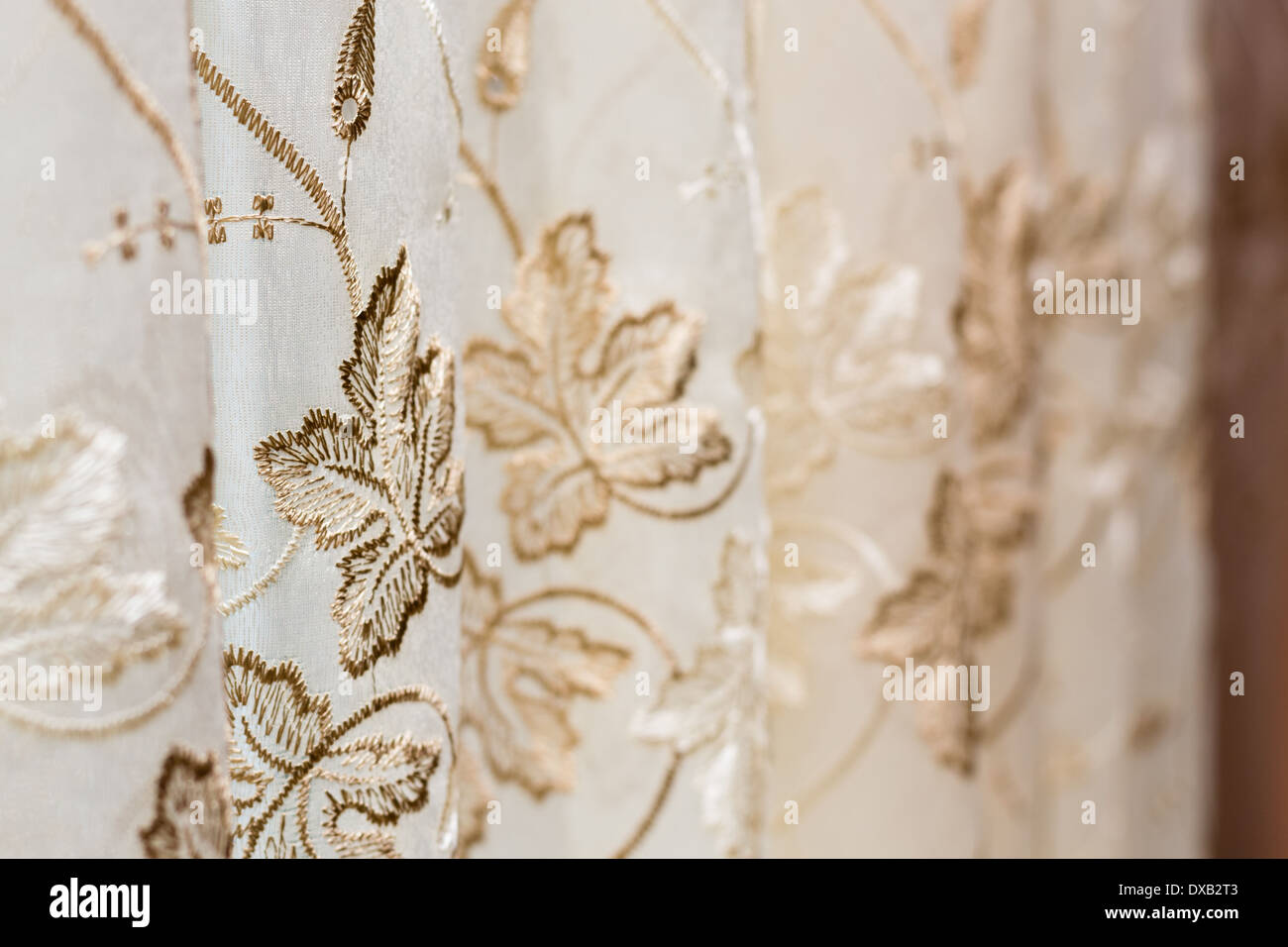 Curtain with flower pattern - Stock Image