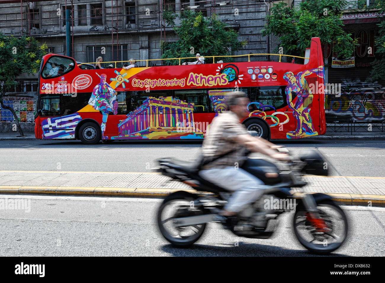 The tour bus for the sightseeing of Athens, Greece - Stock Image
