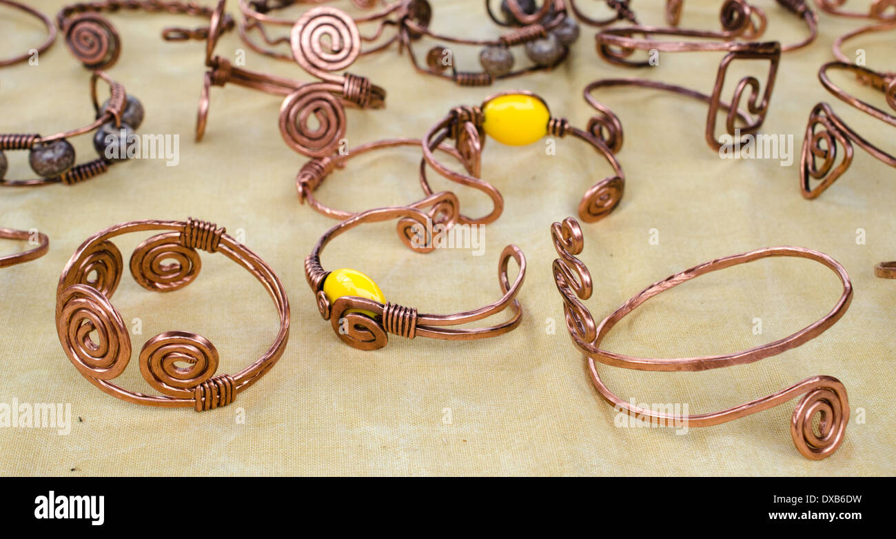 Made Copper Stock Photos Images Alamy Circuit Board Cuff Bracelet Hand From Tisted And Hammered Wire Image