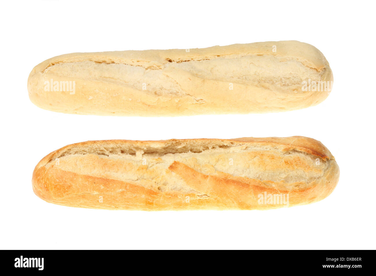 Part and fully baked baguettes isolated against white - Stock Image