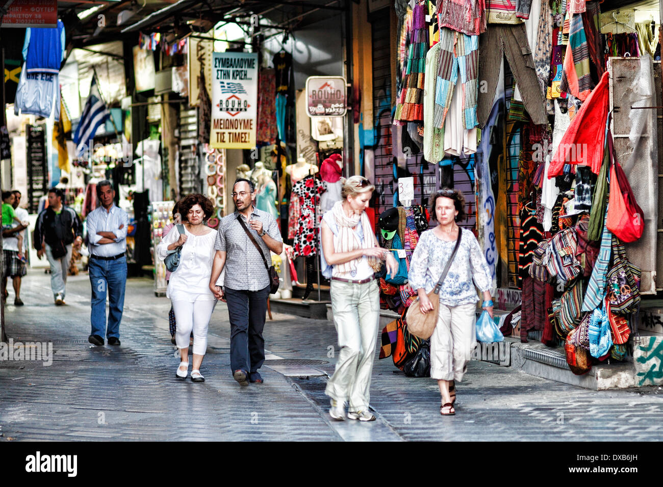 Souvenir shops in the streets of Athens, Greece - Stock Image