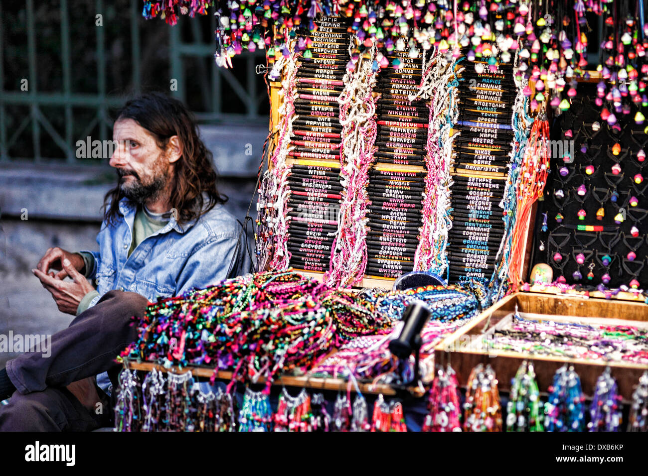 Souvenirs in the streets of Athens, Greece - Stock Image