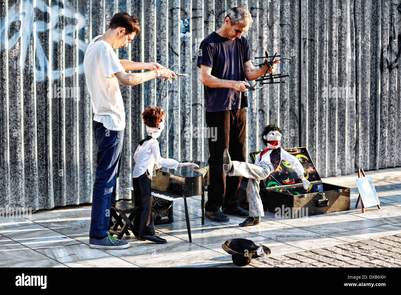 Marionette performance in the street of Athens, Greece - Stock Image