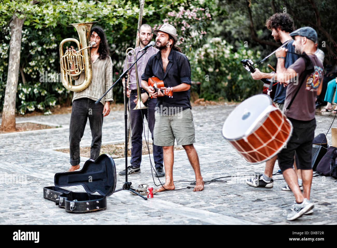 Musicians playing in the street of Athens, Greece - Stock Image