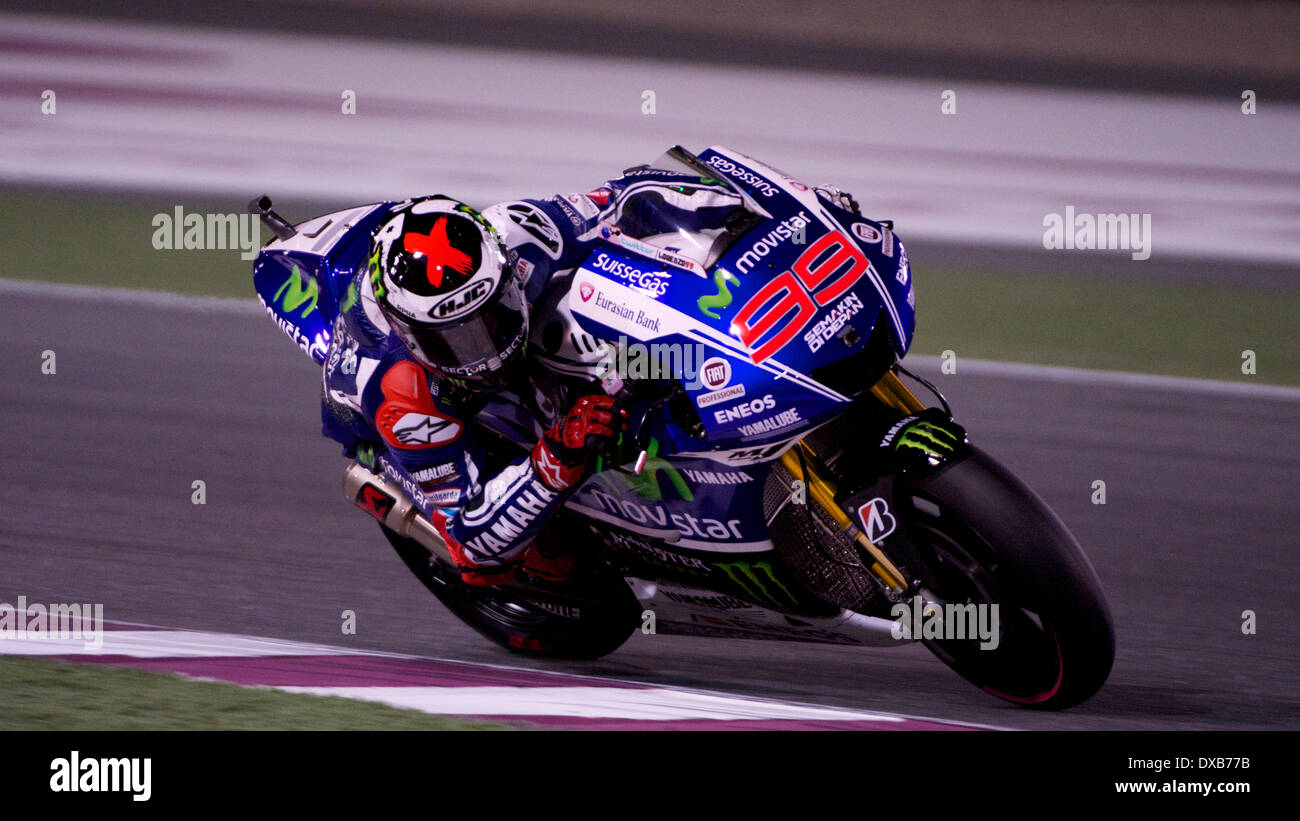 Losail Race Track, Qatar. 22nd March 2014. Jorge Lorenzo riding his Movistar Yamaha Factory MotoGP bike during the Qualifying session for the first round of the 2014 FIM MotoGP World Championship at Losail Race Track in Qatar Credit:  Tom Morgan/Alamy Live News - Stock Image