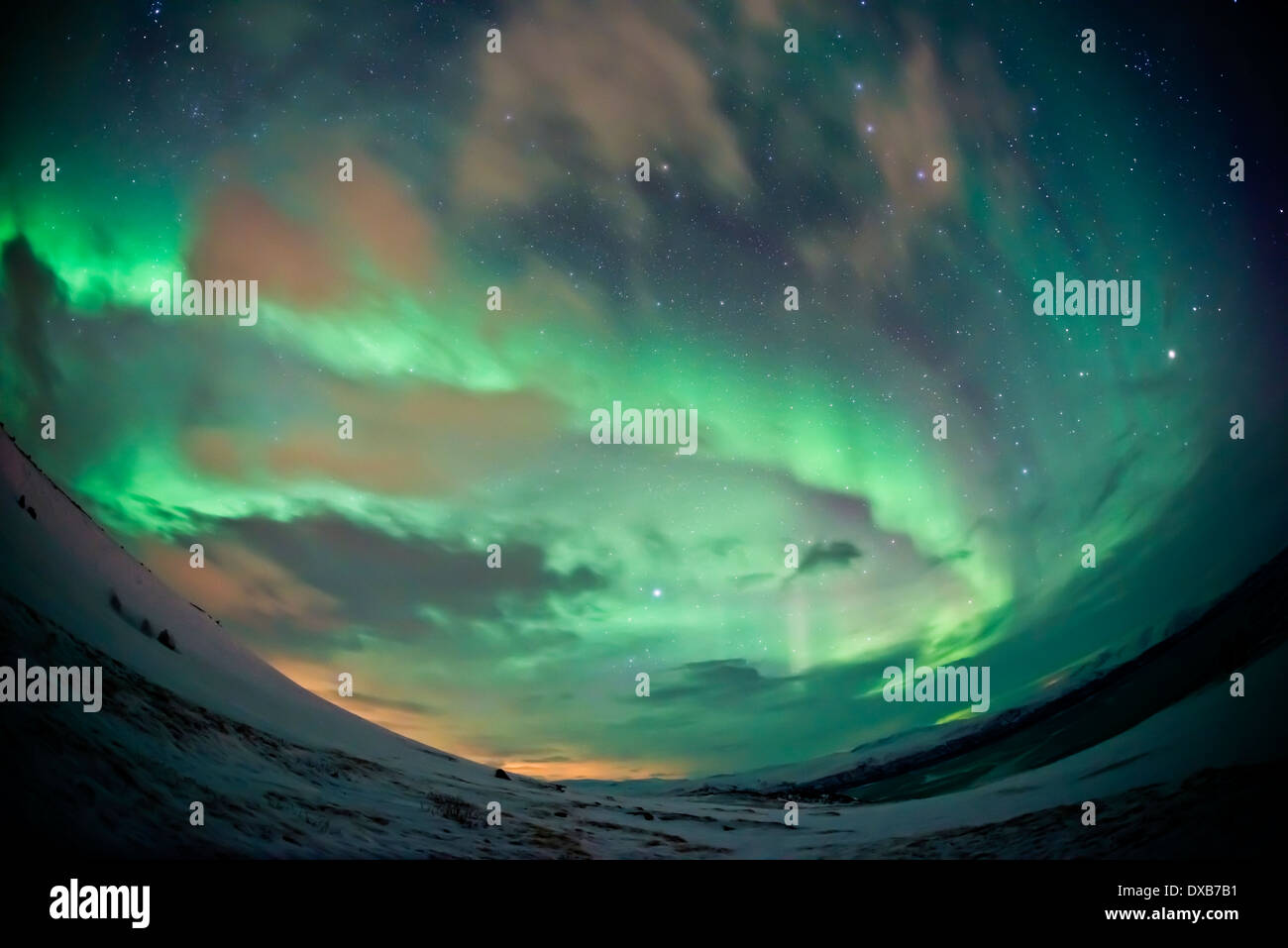 A sky filling Northern Lights (aurora borealis) display over Abisko, Northern Sweden. High ISO - contains noise. - Stock Image