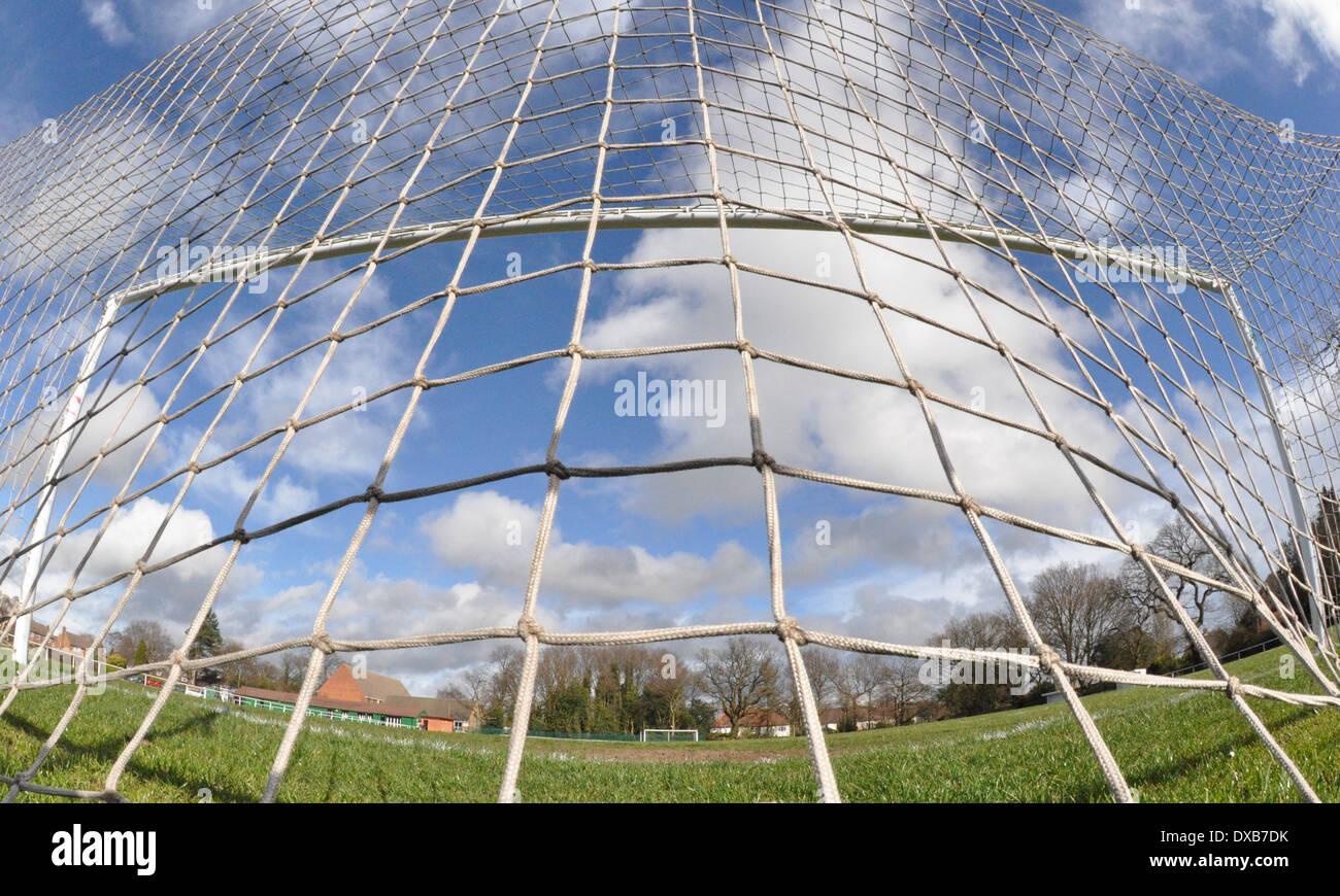 Back of a football goal net - Stock Image