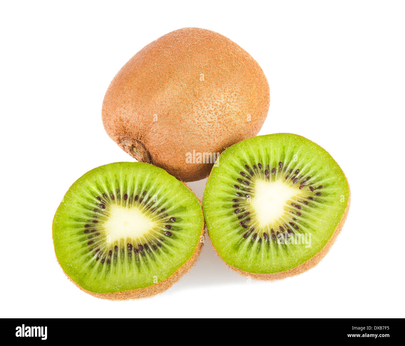 cutting kiwi isolated on white - Stock Image