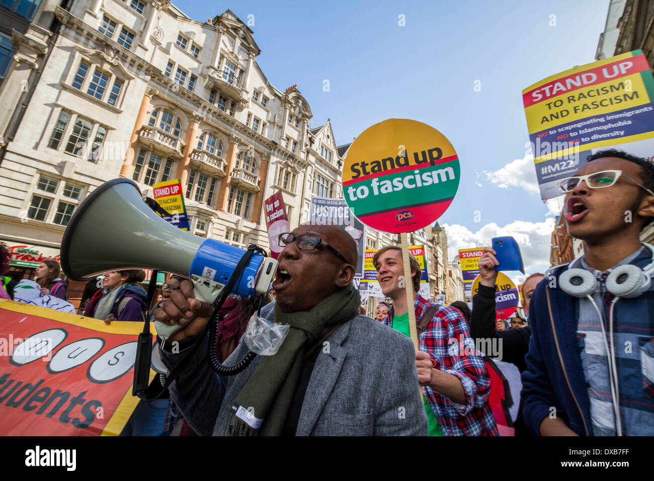 March against racism and fascism on United Nations International Anti-Racism Day in London - Stock Image