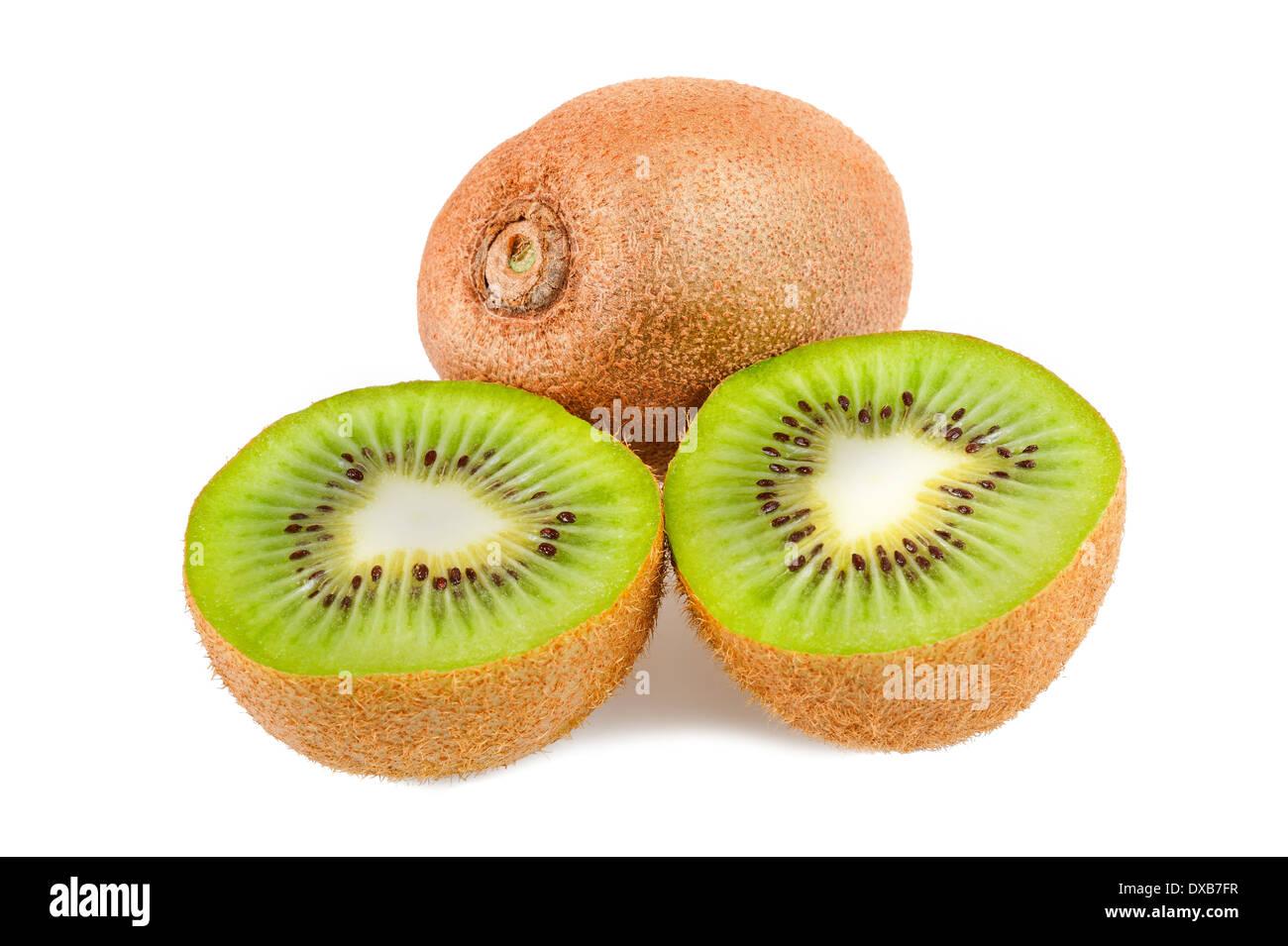 sliced kiwi isolated on white - Stock Image
