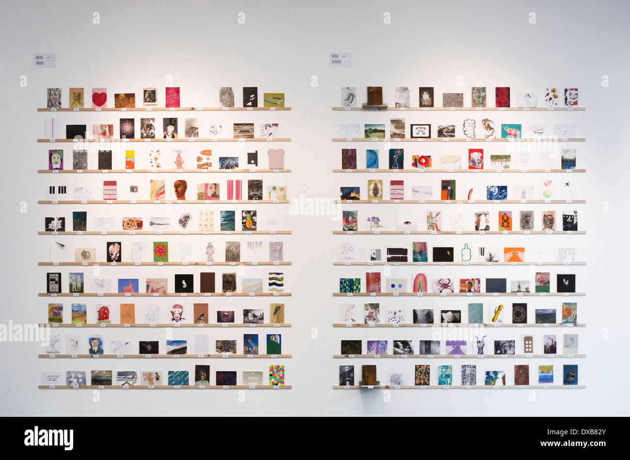 RCA Secret - Royal College of Art's fundraising event of postcard-sized artworks for the RCA Fine Art Student Award Fund - Stock Image